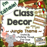 Classroom Decor Editable ~ Jungle Theme
