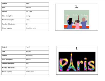 French School Schedule / Class Descriptions Speed Dating
