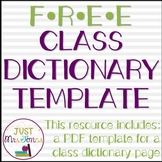 Class Dictionary Template