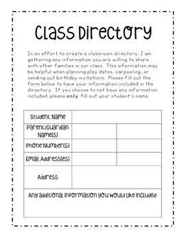 Class Directory Information Form