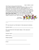 Class Directory Letter to Parents (editable)