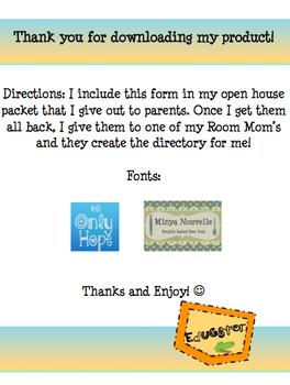 Class Directory Parent Form