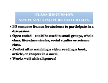 Class Discussion Sentence Frames - Task Cards