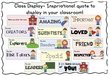Class Display- Inspriational quote to display in your classroom!