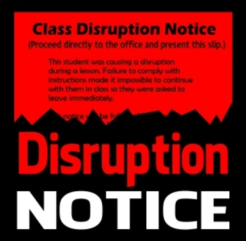 Class Disruption Notice Disciplinary Office Referral TpT