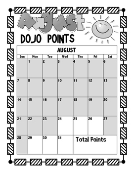 Class Do Jo Monthly Point Tracker