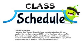 Class DoJo Simple Pocket Chart Schedule