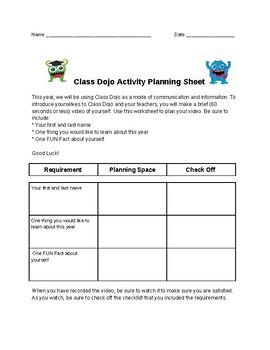 Class Dojo Activity Planning Sheet.