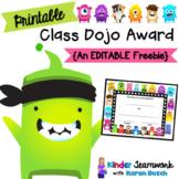 Class Dojo Award Certificate {Freebie}