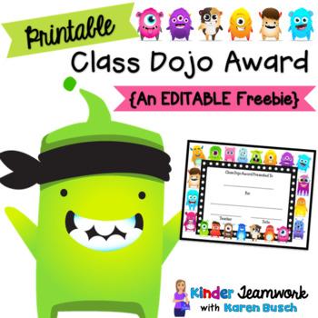 Class Dojo Award Certificate Freebie By Kinder Teamwork Tpt