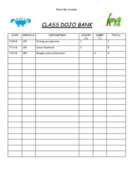 Class Dojo Bank Tracker