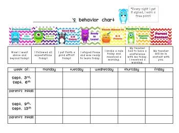 Class Dojo Behavior Chart to Accompany Clip Chart
