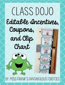 Class Dojo Behavior Management - Editable Incentives & Clip Chart (Blue)