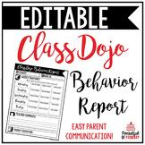 Class Dojo Behavior Report | EDITABLE