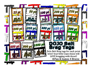 Class Dojo Belts Brag Tags! Colorfu,l fun, and easy incentive