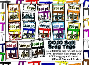 Class Dojo Belts brag tags & clothes pin chart! Colorful fun, and easy incentive