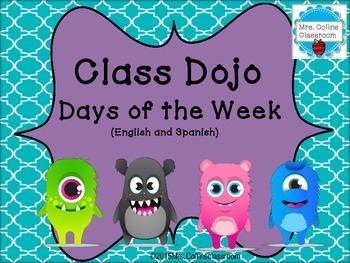 Class Dojo Calendar Days of the Week (English & Spanish)