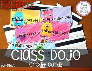 Class Dojo Credit Cards Freebie