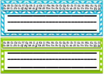 Editable Chevron & Stripes Desk Nameplates w/ both Cursive&Print Alaphabet Strip