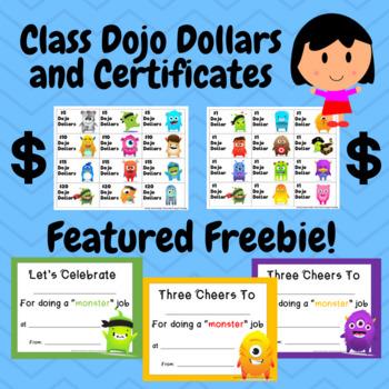 Class Dojo Dollars and Certificates (Freebie)