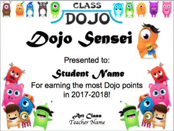 Class Dojo End of Year Certificate