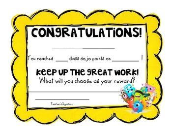 Class Dojo Goal Reward Certificate