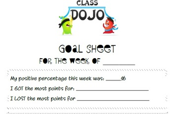 Class Dojo Goal Sheet
