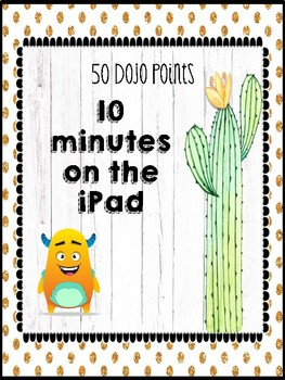 Class Dojo Incentives with Cute Cactus Theme