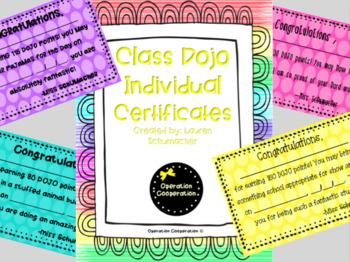 Class Dojo Individual Reward Poster and Certificates!