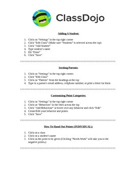 Class Dojo Instruction Sheet