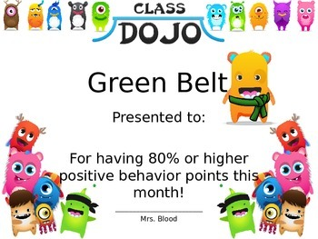 Class Dojo Karate Monster Certificates