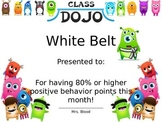 Class Dojo Karate Monster Certificates