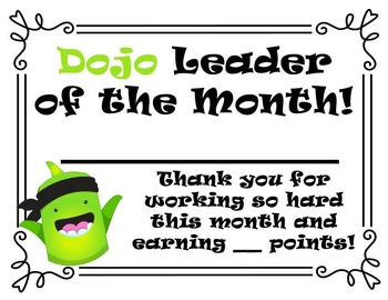 Class Dojo Leader of the Month Certificate
