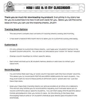 Class Dojo Goal & Tracking Sheets (EDITABLE)