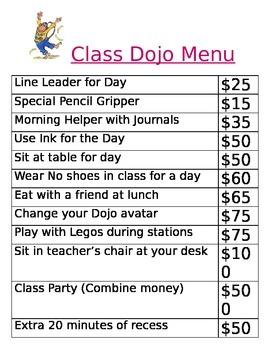 Class Dojo Menu