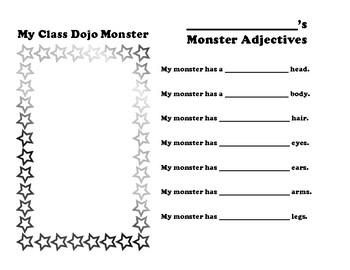Class Dojo Monster Adjectives Worksheet