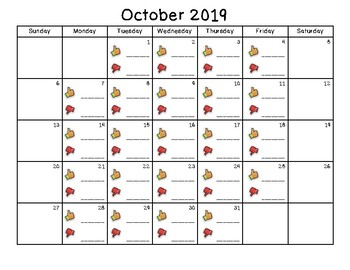 Class Dojo Monthly Calendars