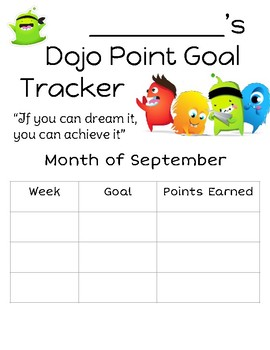 Class Dojo Monthly Goal Tracker and Reflections