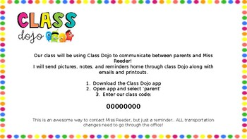 Class Dojo Open House Letter for Parents