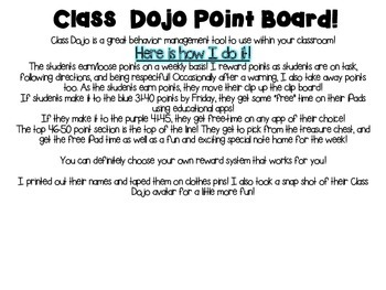 Class Dojo POINT BOARD! FREEEEBIE!