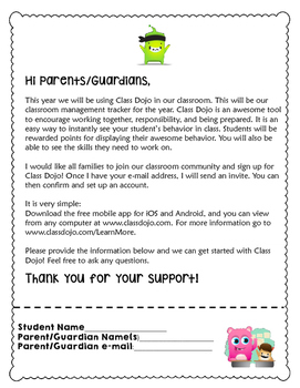 Class Dojo Parent Letter by Mrs Potts Cupboard | TpT