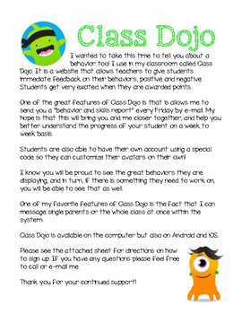 Class Dojo Parent Letter by KNdesigns | Teachers Pay Teachers
