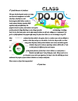 Class Dojo Parent Letter  Editable by Jessica Martinez | TpT