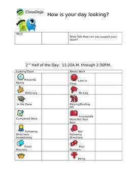 Class Dojo Personal Behavior Tracking Sheet
