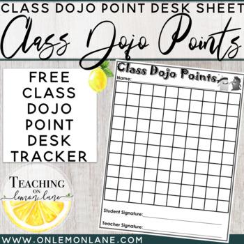 Class Dojo Point Desk Tracker Sheet