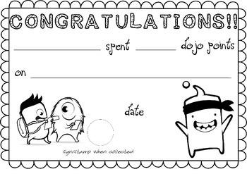 Class Dojo Reward Certificate A4