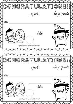 Class Dojo Reward Certificate A5