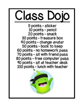 Class Dojo Reward Chart (white)
