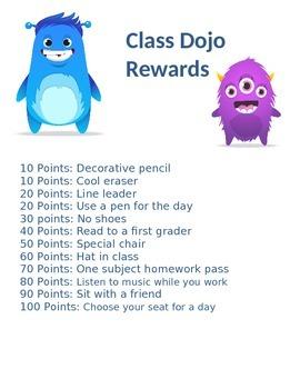 Class Dojo Reward List and Tracker