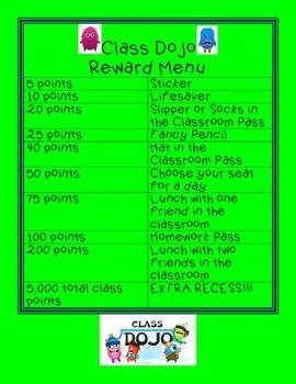Class Dojo Reward Menu
